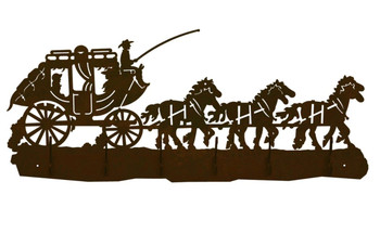 Stage Coach with Horses Scene Six Hook Metal Wall Coat Rack
