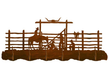 Cowboy Corral Scenic Six Hook Metal Wall Coat Rack