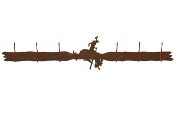 Bucking Bronco Rider Six Hook Metal Wall Coat Rack