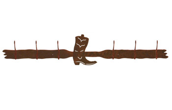 Cowboy Boot Six Hook Metal Wall Coat Rack