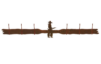 Cowboy with Pistol Six Hook Metal Wall Coat Rack