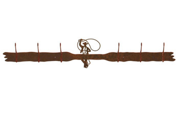 Roping Cowboy Six Hook Metal Wall Coat Rack