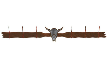 Burnished Buffalo Skull Six Hook Metal Wall Coat Rack