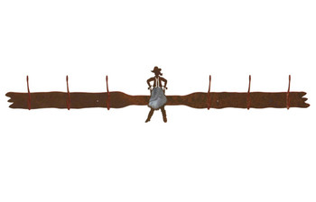 Burnished Cowgirl Drawing Pistol Six Hook Metal Wall Coat Rack