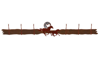 Burnished Running Horses and Moon Six Hook Metal Wall Coat Rack