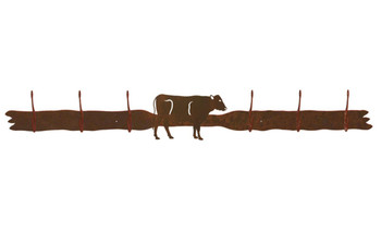 Cow Six Hook Metal Wall Coat Rack