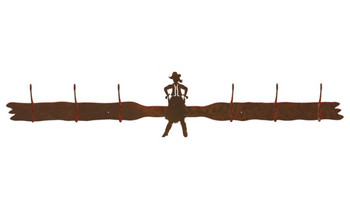 Cowgirl Drawing Pistol Six Hook Metal Wall Coat Rack