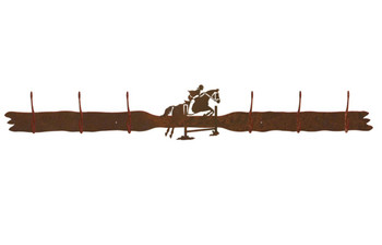 Equestrian Show Jumping Six Hook Metal Wall Coat Rack