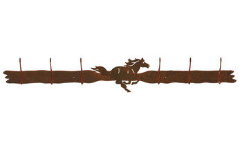Running Horse Six Hook Metal Wall Coat Rack