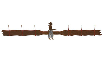 Burnished Cowboy with Pistol Six Hook Metal Wall Coat Rack