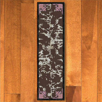 2' x 8' Fancy Cowhide Brown and Pink Western Rectangle Runner Rug