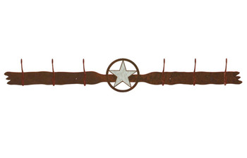 Burnished Texas Star Six Hook Metal Wall Coat Rack