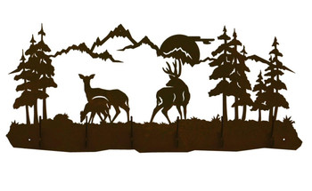 Deer Family Scene Six Hook Metal Wall Coat Rack