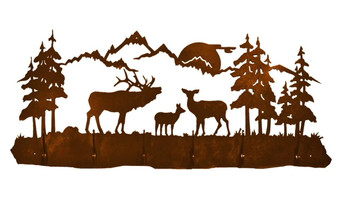 Elk Family Scene Six Hook Metal Wall Coat Rack