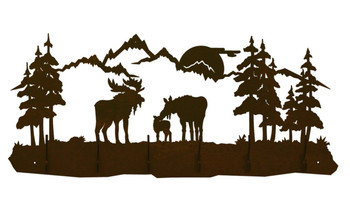Moose Family Scene Six Hook Metal Wall Coat Rack