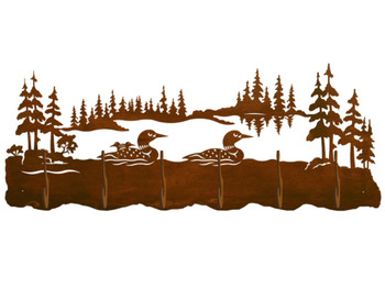 Swimming Loons Scenic Six Hook Metal Wall Coat Rack