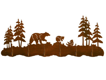 Bear Family and Pine Trees Scenic Six Hook Metal Wall Coat Rack