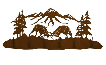 Elk Fighting in the Forest Scene Six Hook Metal Wall Coat Rack