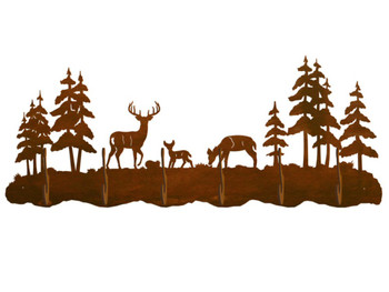 Whitetail Deer Family & Pine Trees Six Hook Metal Wall Coat Rack