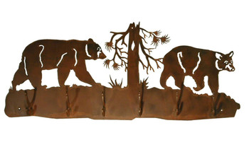 Bears and Tree Scene Six Hook Metal Wall Coat Rack