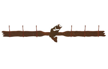 Bass Fish Six Hook Metal Wall Coat Rack