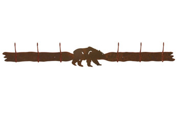 Brown Bear Six Hook Metal Wall Coat Rack