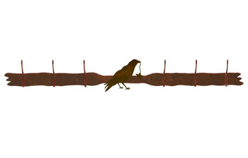 Crow Bird Six Hook Metal Wall Coat Rack