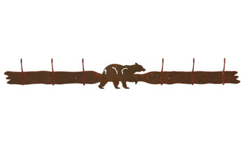 Black Bear Six Hook Metal Wall Coat Rack