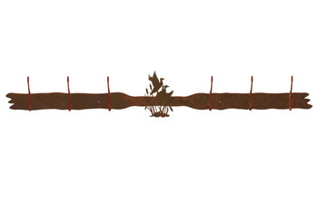 Ducks in the Cattails Six Hook Metal Wall Coat Rack