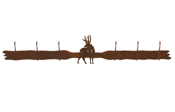 Mule Deer Six Hook Metal Wall Coat Rack