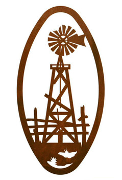 "22"" Oval Windmill Metal Wall Art"