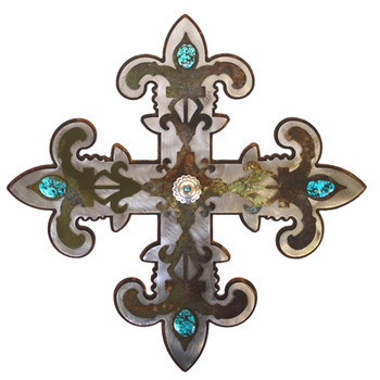 "16"" Fleur De Lis Cross Metal Wall Art"