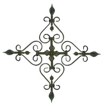 "23"" Leaf Cross Forged Steel Metal Wall Art"