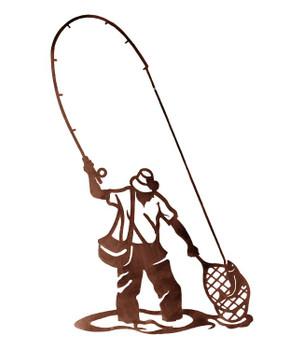 "42"" Fly Fisherman Fishing Metal Wall Art"