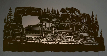 "42"" Steam Locomotive Train Scenic LED Back Lit Lighted Metal Wall Art"