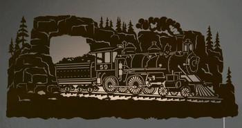 "42"" Steam Locomotive Train Scenic LED Back Lit Lighted Metal Wall Art"
