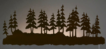 "42"" Pine Forest LED Back Lit Lighted Metal Wall Art"