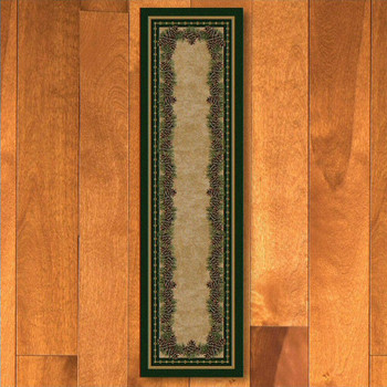 2' x 8' Pine Cone Mountain Green Nature Rectangle Runner Rug