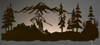 "42"" Skier LED Back Lit Lighted Metal Wall Art"
