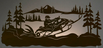 "42"" Snowmobile Rider Scenic LED Back Lit Lighted Metal Wall Art"