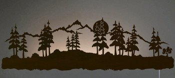 "42"" Midnight Moon with Pine Trees LED Back Lit Lighted Metal Wall Art"