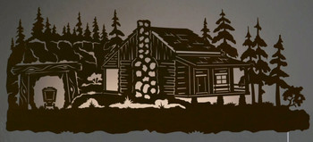"42"" Mining Cabin in Pine Forest LED Back Lit Lighted Metal Wall Art"