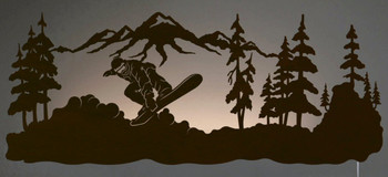 "42"" Snowboarder LED Back Lit Lighted Metal Wall Art"