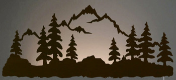 "42"" Mountain Scene LED Back Lit Lighted Metal Wall Art"
