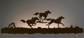 "42"" Running Wild Horses LED Back Lit Lighted Metal Wall Art"