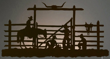 "42"" Cowboys in the Corral LED Back Lit Lighted Metal Wall Art"