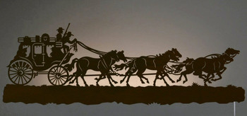 "42"" Stagecoach with Horses LED Back Lit Lighted Metal Wall Art"