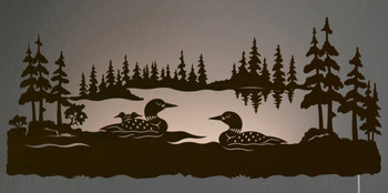 "42"" Swimming Loon Family Scenic LED Back Lit Lighted Metal Wall Art"