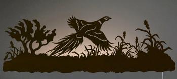 "42"" Flying Pheasant Bird Scenic LED Back Lit Lighted Metal Wall Art"