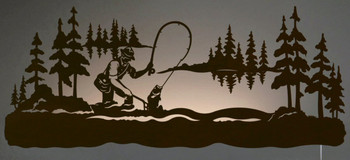 "42"" Fly Fisherman Fishing LED Back Lit Lighted Metal Wall Art"
